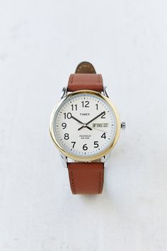 Timex Leather Easy Reader Watch - Urban Outfitters