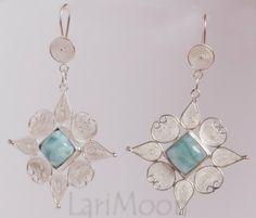 Sterling Silver Filigree Larimar Earrings. www.larimoon.com