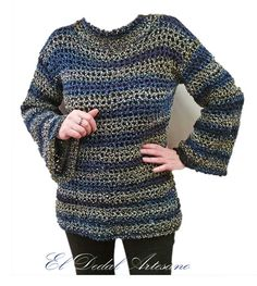 Jersey tejido a crochet con mangas anchas