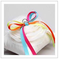 Rainbow Lilyrose wedding ring pillow