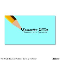 Substitute Teacher Business Card Template Cuteappleblue - Teacher business cards templates free