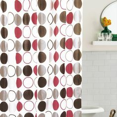 Bianca Geometric White Brown Grey Maroon Pacific Shower Curtain With HookShower
