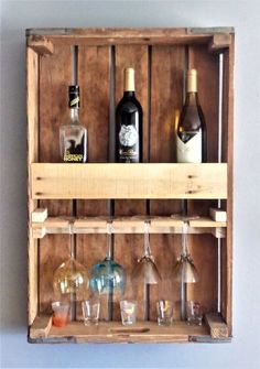 Use one of those cost free DIY mauve rack tactics to build a wine probe for your own personal home or perhaps even a gift. Wine Rack Shelf, Wine Glass Shelf, Wine Shelves, Wine Glass Rack, Wine Storage, Glass Shelves, Woodworking In An Apartment, Woodworking Store, Woodworking Plans