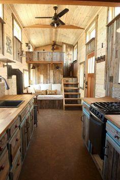 Tiny House Living 60427 Kitchen Living Room and Master Bedroom. Sustainable Architecture with a Tiny House on Wheels. By SimBLISSity. Tiny House Cabin, Tiny House Living, Tiny House Plans, Tiny House Design, Tiny House On Wheels, Living Room, Kitchen Living, Tiny Cabins, The House
