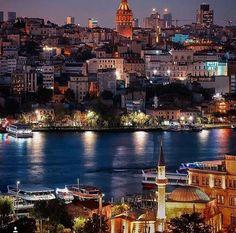 Galata tower and the city lights (by Güngör Tümsa on Turkey Vacation, Turkey Travel, Places Around The World, Around The Worlds, Ankara, Wonderful Places, Beautiful Places, Visit Turkey, Hagia Sophia