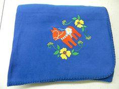 Scandinavian Swedish Dala Horse Royal Fleece Blanket Throw Embroidered on eBay!
