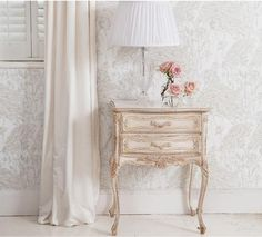 Delphine French Bedside Table White Shabby Chic