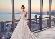 Eddy K Sky Style SKY112. Sleeveless, gorgeous beading, ball gown, V-neck, full skirt, low back. Gorgeous wedding dress/ bridal gown.