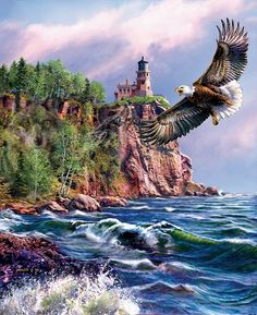James Meger, artist ~ lighthouse ~ coastal ~ bald eagle ~ and also notice the 2 hidden mammals