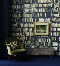 this wallcovering makes me think that i'm wandering through a creaky old estate in the english countryside.  Fab!