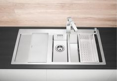 """BLANCO CLARON 6 S-IF Stainless Steel Kitchen Sink Right Hand Main Bowl Highlight of clear design language €"""" the programme of inset sinks in an elegant-pure design A revolution in form and technology: se"""