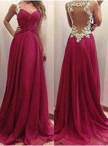 Elegant A-Line Sweetheart Floor Length Burgundy Chiffon Evening/Prom Dress With Appliques