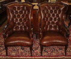 OUTSTANDING! Pair English Mahogany Tufted LEATHER Fireside Parlor Club Chairs