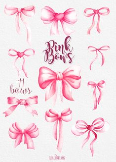 Pink Bows Watercolor Handpainted Clipart heart silk от ReachDreams