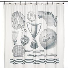 Sports theme shower curtain boy 39 s shower by for Sports themed bathroom ideas