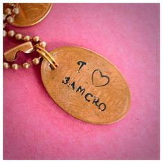 I love heart samcro pressed hand stamped penny by Quotefangirl