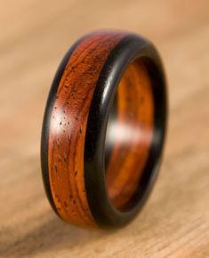 Ebony Cocobolo Wood Ring
