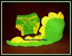 Crochet Baby Dinosaur Hat and Diaper Cover by SubasJandSualyJShop, $25.00