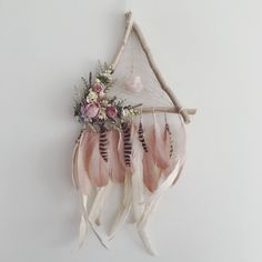 Feather Dreamcatcher | Triangle Dreamcatcher | Wallhanging | Floral Dreamcatcher | Boho Dream Catcher | Bohemian | Dream catcher | Blush by MeadowandMoss on Etsy https://www.etsy.com/ca/listing/540941496/feather-dreamcatcher-triangle