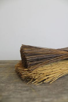 Vintage Whisk Brooms Plastic and Straw // Dark Brown // by MyBarn