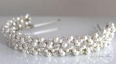 Bridal Headband, Wedding Headband, Headband, Swarovski Pearl and Crystal Headband-no.hb001. $192.00, via Etsy.