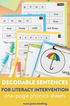 These one-page decodable intervention sheets are the perfect no-prep literacy interventions and they're aligned with the Science of Reading! Each page has a target skill for students to review individual sounds, sounds in words, and sounds in decodable sentences.These ideas include a phoneme & grapheme flashcard with an image and word lists for phonemic awareness and phonics activities. Use these during literacy intervention groups or guided reading groups. Great for struggling readers.