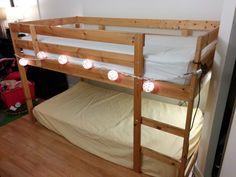 MYDAL bunkbed into a KURA loft bed
