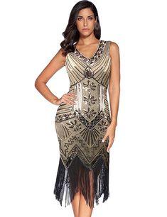 af3a62fc98 Femteresting evening dresses · Meilun Women s 1920s Sequined Inspired  Beaded Gatsby Flapper Dress  Amazon.com.au