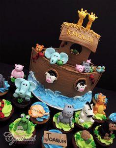 Noah's Ark Cake and Cupcakes arca de noe Fancy Cakes, Cute Cakes, Gorgeous Cakes, Amazing Cakes, Fondant Cakes, Cupcake Cakes, Noahs Ark Cake, Love Cake, Creative Cakes