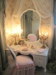 Vintage Shabby Chic Vanity Room, This is a tiny room off the bathroom that used to hold one bed which was transformed into this darling corner which is now a vanity room where one can dress do hair and make-up.  By Artreal.