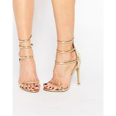 Public Desire Nikki Gold Strappy Heeled Sandals (€43) ❤ liked on Polyvore featuring shoes, sandals, gold, high heel shoes, metallic gold shoes, gold high heel shoes, metallic sandals and gold sandals