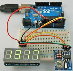 Make a digital clock with Arduino http://www.doctormonk.com/2012/08/review-4-digit-7-segment-led-and-rtc.html https://www.coolcomponents.co.uk/deadon-rtc-ds3234-breakout.html?utm_source=post&utm_medium=pinterest&utm_campaign=pinterest