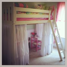 Girls loft bed ( Canwood Alpine II loft bed from Walmart.com ($299), 2 Exhilaration ruffle curtains (19.99 each) from Target and (4 panels, 2 on each side) sheer curtains for the side panels ($4.99 each).