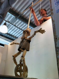 "Cardboard Puppet Show -  Strode College UK / 2011. ""Circus' - Tom with the amazing mechanical  'Tightrope Unicyclist'"