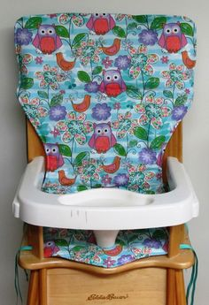 high chair cover, Eddie Bauer replacement high chair pad, feeding chair pad, baby accessory, baby and child care, wood chair,the owls garden by SewingsillySister on Etsy