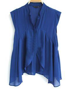 Blue Ruffle Stand Collar Sleeveless Irregular Chiffon Bluose