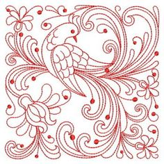 rosemaling patterns free | Embroidery Designs - Redwork Rosemaling Birds 09(Md)