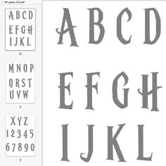 Another request that I suspect might appeal.  These two full alphabets will be great for any HP fan. Hocus Pocus: Download Upper Case and numbers Download Lower Case and ! ? & and a lightning b…