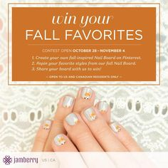 With fall in the air, it's time to get in the festive spirit with a contest! How do you win? Create your own fall-inspired nail board by repinning your favorite styles from our Fall Nail Board. What do you win? Four nail wraps from your board! Make sure to follow us on Pinterest and share your board with us through a comment.
