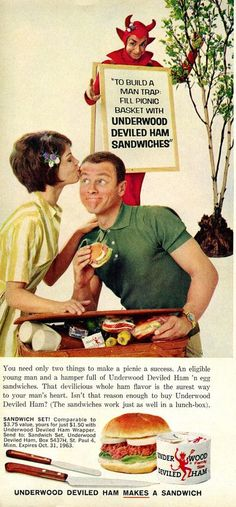 Vintage ad- snag a man with canned ham!