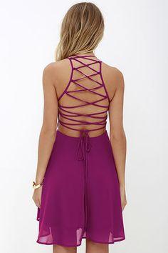 Good Deeds Magenta Lace-Up Dress at Lulus.com!