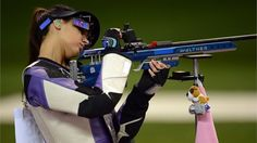 Ivana Maksimovic of Serbia competes during women's 50m Rifle 3 Positions Shooting finals on Day 8 of the London 2012 Olympic Game at the Royal Artillery Barracks.