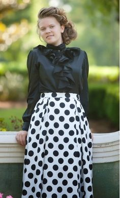modest skirts - womens vintage mid length polka dot skirt with back zipper and front pockets