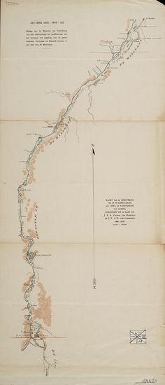 Kaart van de Marowijne van af de samenvloeiing der Lawa en Tapanahoni tot Albina (1860-1879)