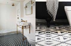 Quer adicionar um pouco de cor e design a um espaço pequeno como um banheiro? Use azulejos ou ladrilhos geométricos. Em vez de optar pelo padrão quadriculado ou piso chevron, que tal uma estampa gráfica que cria um estilo mais artístico? Combiná-lo com tons e materiais mais neutros como mármore e peças brancas traz uma estética ao mesmo tempo elegante e criativa.