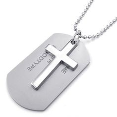 * Penny Deals * - TEMEGO Jewelry Mens 2pcs Alloy Army Style Dog Tag Gothic Cross Pendant Necklace Chain Necklace, Silver * To view further for this item, visit the image link.