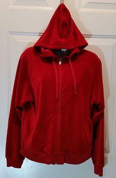 Mountain Lake Ladies Med Red Ribbed Hoodie Zip Front Jacket Polyester Cotton #MountianLake #BasicJacket