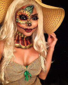 @margaritapacas Costume Halloween, Scarecrow Halloween Makeup, Unique Halloween Makeup, Halloween Looks, Halloween 2018, Halloween Outfits, Women Halloween, Scary Halloween, Scarecrow Costume Women