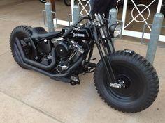 All black Harley bobber Bobber Bikes, Bobber Motorcycle, Bobber Chopper, Harley Bobber, Retro Motorcycle, Motorcycle Garage, Blitz Motorcycles, Cool Motorcycles, Custom Harleys