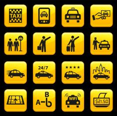 Taxi and Car Service royalty free vector icon set stickers vector art illustration